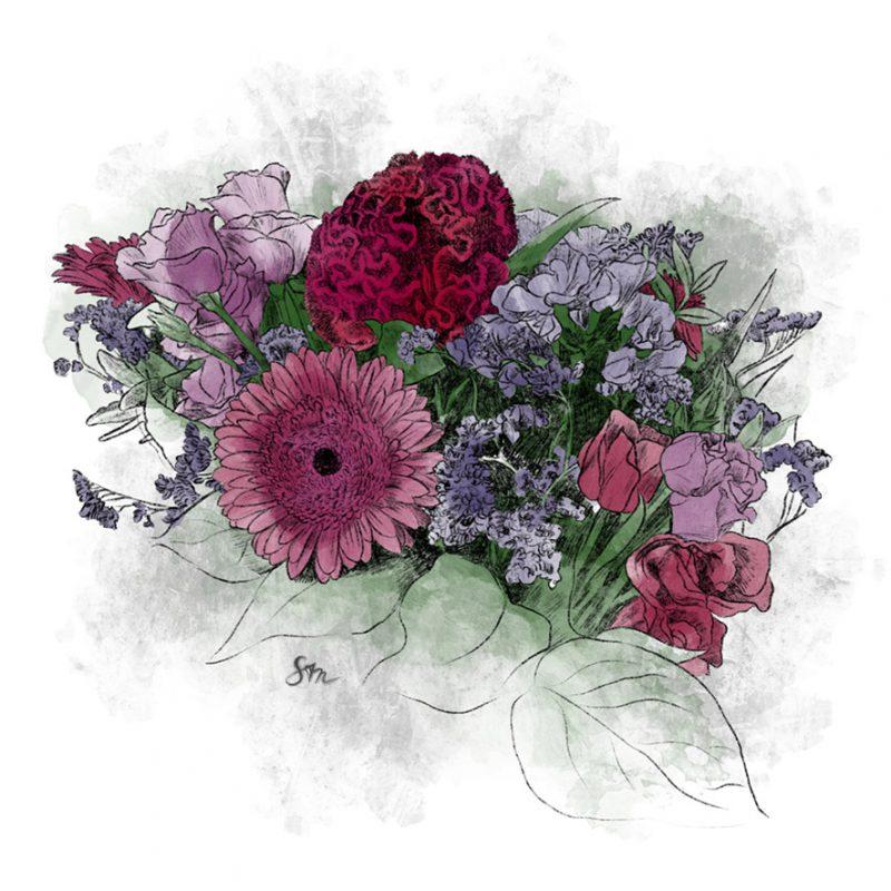 verschiedene Blumen in Rosa und Pinktönen