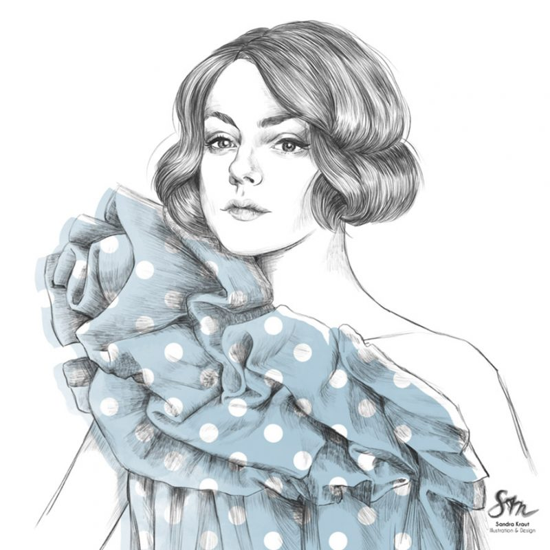 Frau im Vintagelook mit blauem Kleid