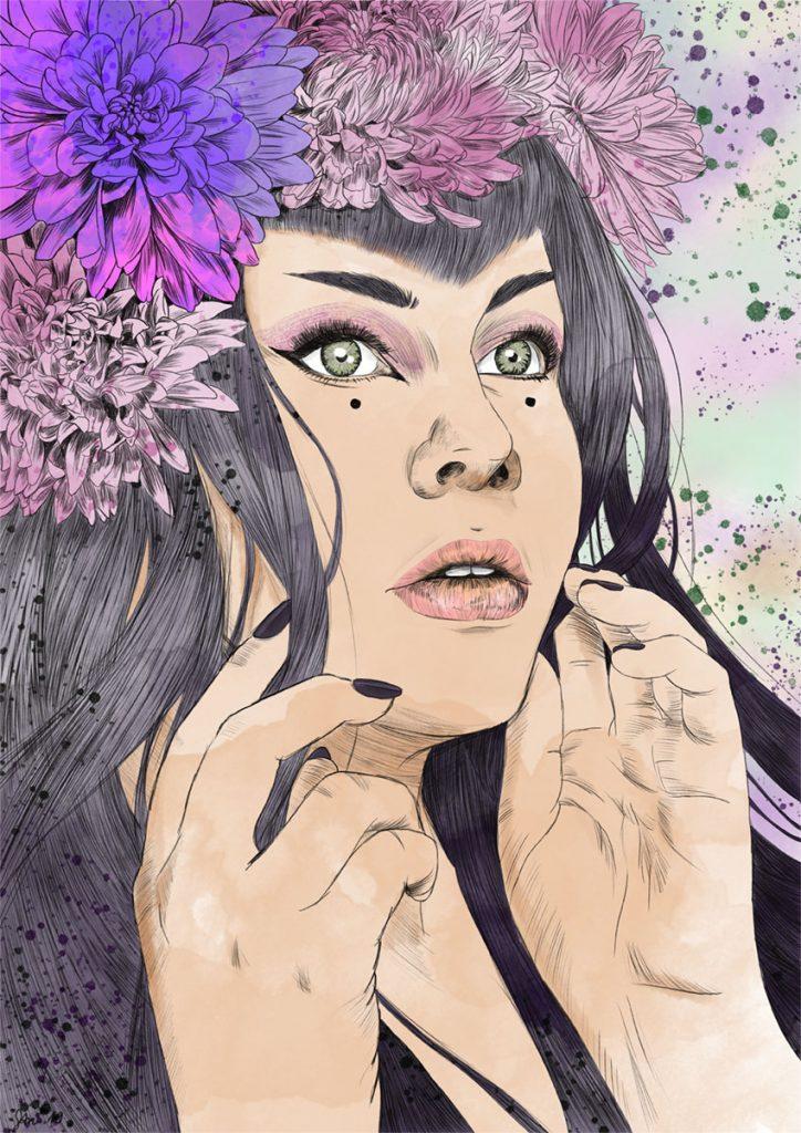 Nymphe - porträt einer frau mit Blumenkrone