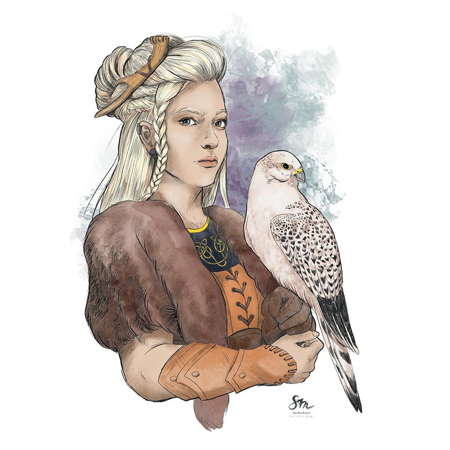 Zeichnung einer Falknerin mit Falken auf dem Arm